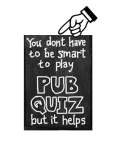 "A chalkboard has the following written on it: ""You dont have to be smart to play Pub Quiz but it helps."" There is a large cartoon finger pointing at the word ""dont,"" which is missing the apostrophe between the n and the t."