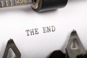 "To symbolize a good plot resolution, this is a photo of a piece of paper in a typewriter that reads: ""The End."""