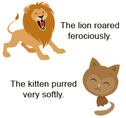 There are two graphics in this image: one is a lion and one is a cat. This graphic illustrates the use of adverbs.