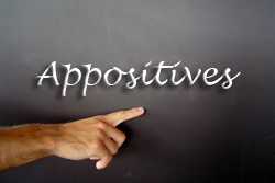 "The word ""Appositives"" is written on a blackboard. A hand is pointing to the word."