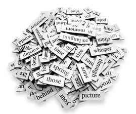 A pile of words on a white background.