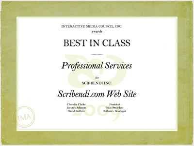 A certificate awarding Scribendi.com with Best in Class from the Interactive Media Awards.