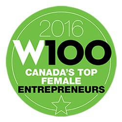 Logo for 2016 W100 ranking of Canada's Top Female Entrepreneurs