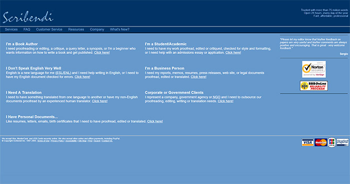 Scribendi's second website from 2003.