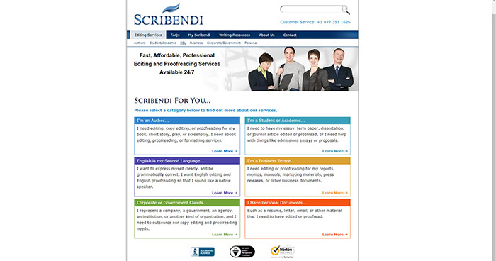 Scribendi's fourth website from 2011.