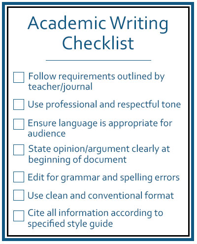 Academic Writing Checklist