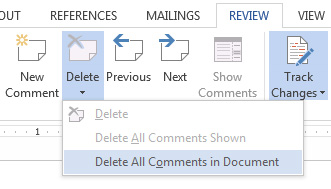 Delete Comments in Word 2016