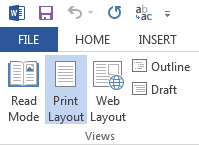 Viewing Print Layout in Word 2016