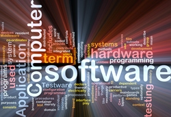 A colourful background covered with numerous words, including API, software, computer, application programming interface, and hardware.