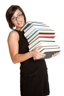 Young woman holding a stack of books; the books discuss how to use brackets (parentheses) properly.