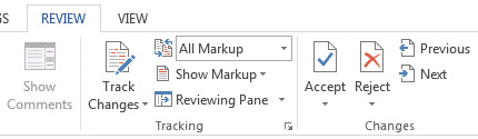 Review Tab in MS Word