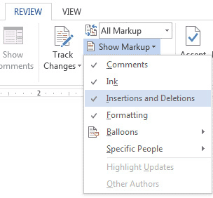 The Show Markup Menu in MS Word