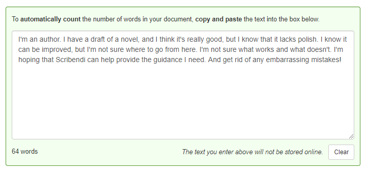 Scribendi's Automatic Word Count Tool