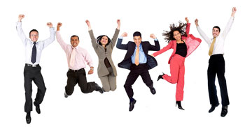 Six people jumping in the air with their arms up; showing the significance of using interjections in writing.