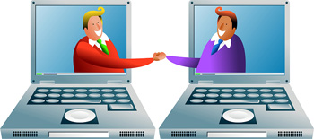 Two laptop computers are positioned side-by-side. Two cartoon men reach out of the laptop screens to shake hands.