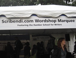 "A banner that reads ""Scribendi.com Wordshop Marquee Featuring the Humber School for Writers."""