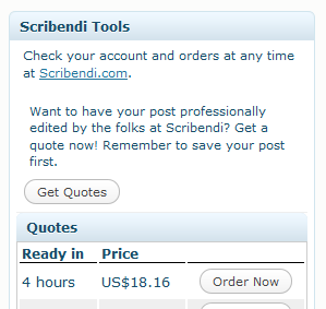 The Scribendi.com Tools box in WordPress