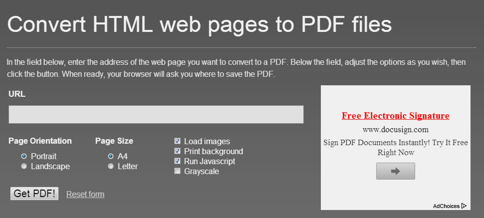 Visit the HTML to PDF converter.