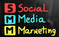 Social media marketing and its acronym, SMM, are spelled out in colorful writing.