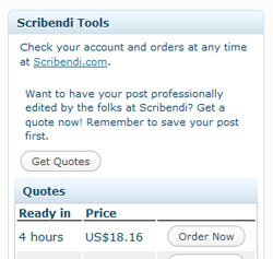 A screenshot of the Scribendi.com WordPress Plugin.