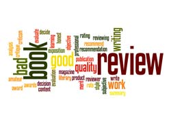 """Book Reviews"" is written in different colors and fonts."