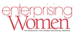 The Enterprising Women logo. There are red letters on a white background.