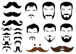 A white background with a number of different images of moustaches on it.