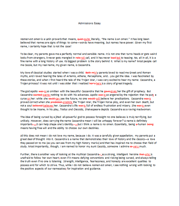 College admission essay sample