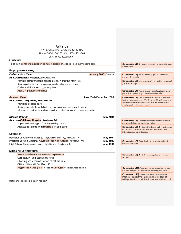 Resume Editing Sample (After) After Editing
